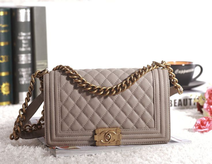 chanel boy bag gray and gold caviar - Google Search