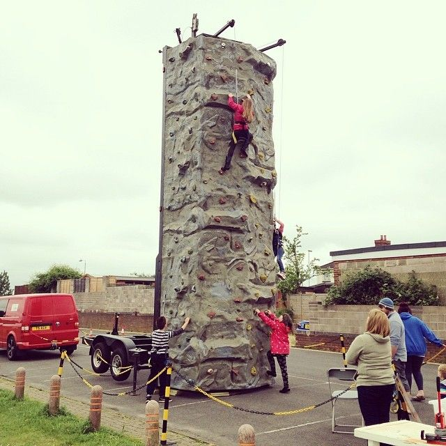 Rock climbing at the Newtown Family Fun Day  today!