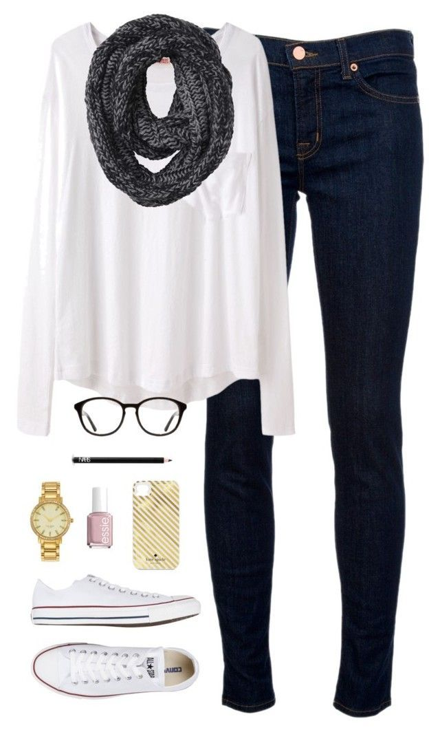 """""""scarf weather"""" by classically-preppy ❤ liked on Polyvore featuring J Brand, Organic by John Patrick, Converse, Monki, Kate Spade, NARS Cosmetics and Essie"""