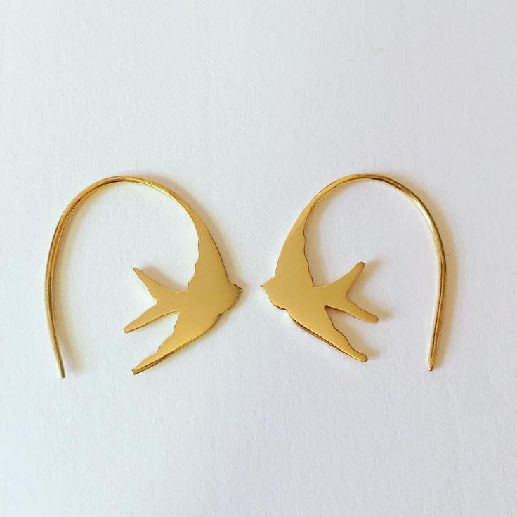 Gold Swallow Earrings #swallowearrings #stillsopopular #louisewadejewellery