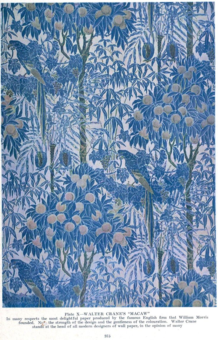 "Macaw wallpaper by Walter Crane, ca.1908. This is posted elsewhere on Pinterest as William Morris. As the caption attached to the image clearly states, this is ""Macaw"" by Walter Crane"