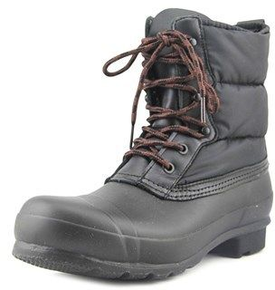 Hunter Originl Quilted Lace Up Short Women Round Toe Canvas Black Snow Boot.