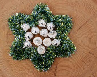 Vintage Christmas Ornaments Silver | Antike Vintage Weihnachtskugeln Set 12 Stück Christbaumkugeln Weihnachtsschmuck Silber Germany 50 60er Jahre