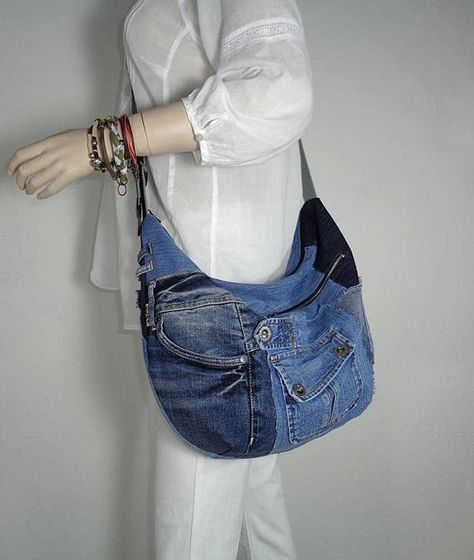 Denim bag slouchy hobo cross body crazy patchwork Made To