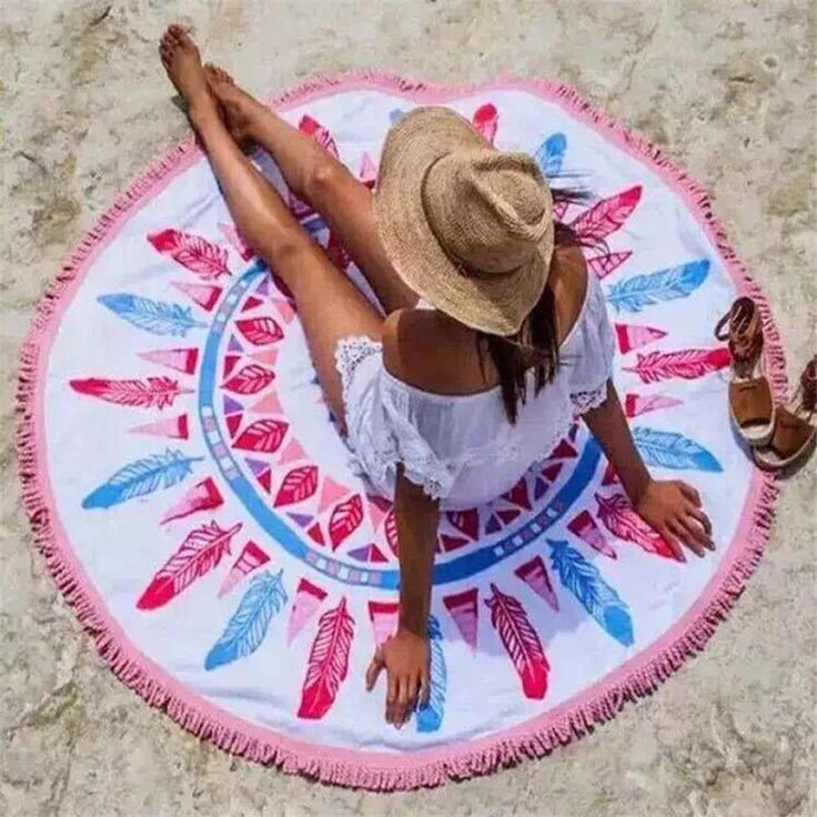 ==> [Free Shipping] Buy Best Hot Selling Multifunction Round Beach Towel 150cm Bath Towels Summer Geometric Print Women Sandy swimming Sunbath Baby Blanket Online with LOWEST Price | 32787138884