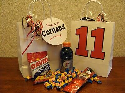 Baseball...so cute!!!  peanuts, crackerjacks, big league chew.  I did this for my hubby's birthday one year!