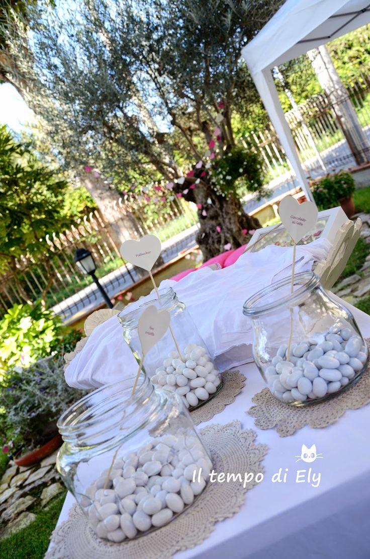 Battesimo Anita - Cuori di carta per allestimento buffet e giardino