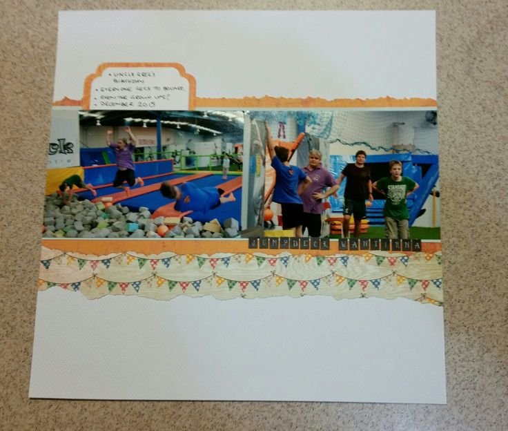Trampoline party. Paper by Basic Grey DIES CUT label by spellbinders Lots of fun for all ages at the birthday party! Layout with two landscape photos.