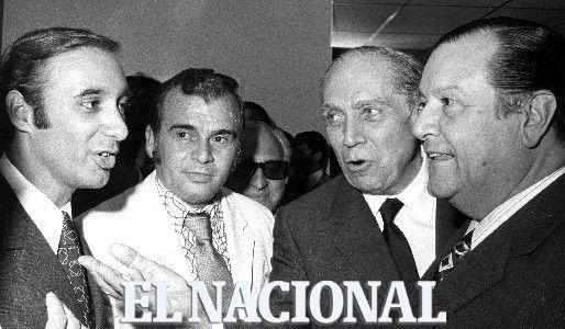 Pedro Penzini Fleury, Arturo uslar Pietri y Rafael Caldera en el 28 Aniversario diario El Nacional. Caracas, 04-08-1971 (GUSTAVO BELTRAN / ARCHIVO EL NACIONAL)