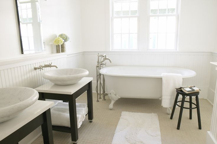 White, classic clawfoot bathroom. Wainscoting around tub instead of tile.