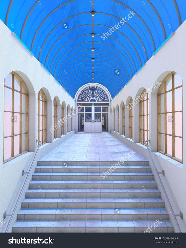 3d Render Of An Arch Gallery Interior Sunlit With Blue Light. Stock Photo 539196493 : Shutterstock