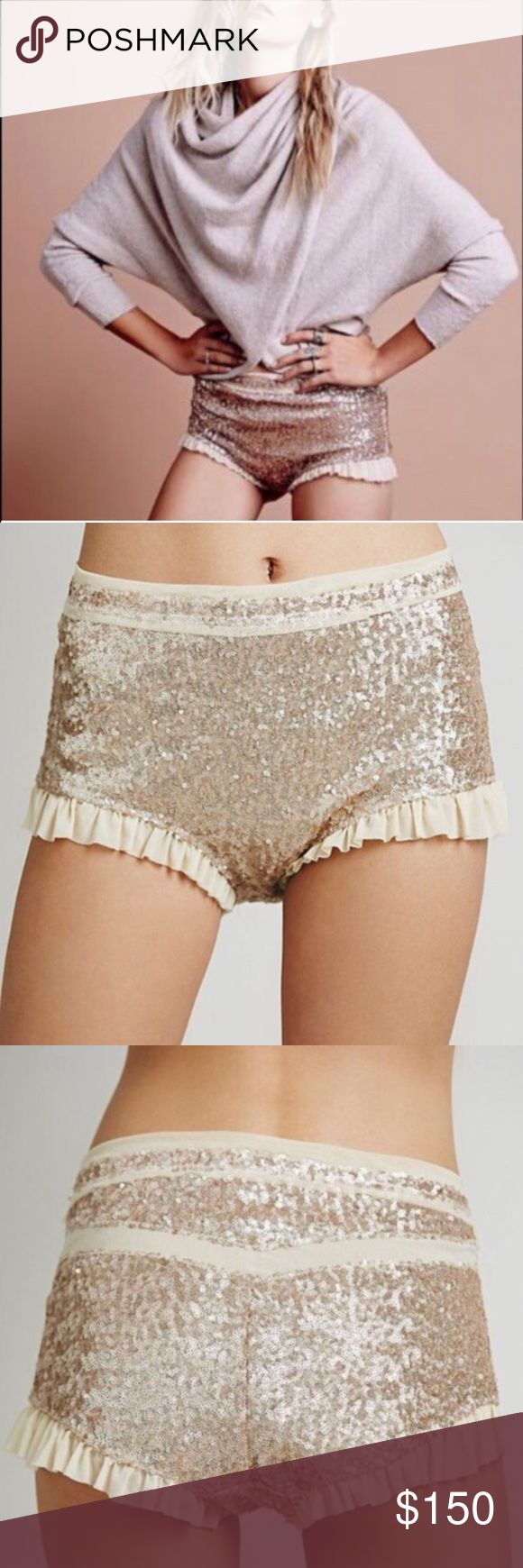 Free people NWOT sequin shorts Brand NEW! Sold out everywhere! Rare find! Gold sequin shorts! Very stretchy! Size xs! In love with these and not sure I want to sell so make me an offer I can't refuse! Free People Intimates & Sleepwear