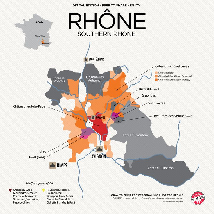 "[Maps] ""Southern Rhône Wine maps (France)"" Mar-2014 by Winefolly.com"
