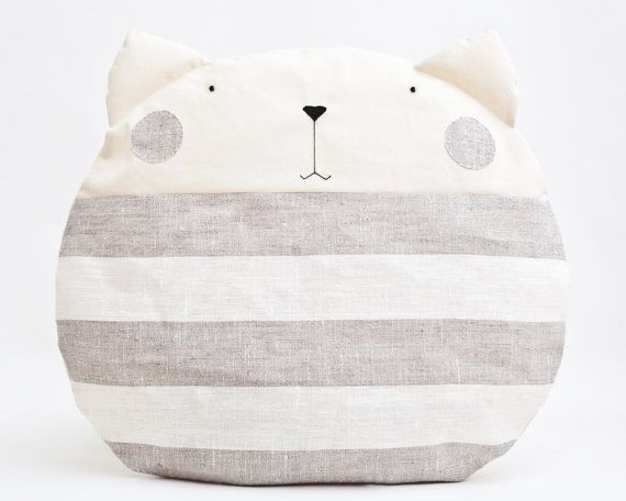 Striped Pillow Cat, Decorative Pillow, Children's Room Decor, Cat cushion