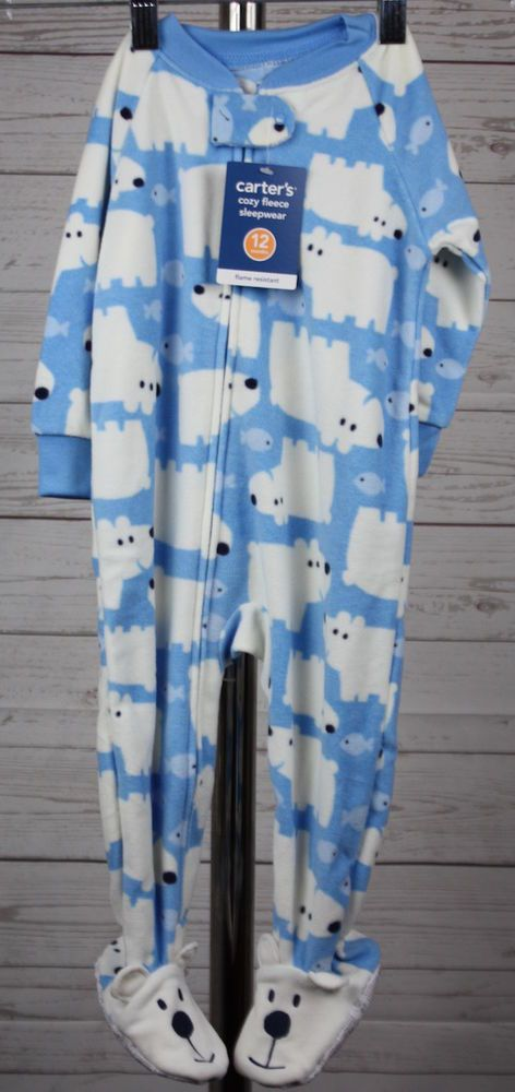 New Carter's Blue Polar Bear One Piece Footie Sleeper 12 mos #Carters #OnePiece