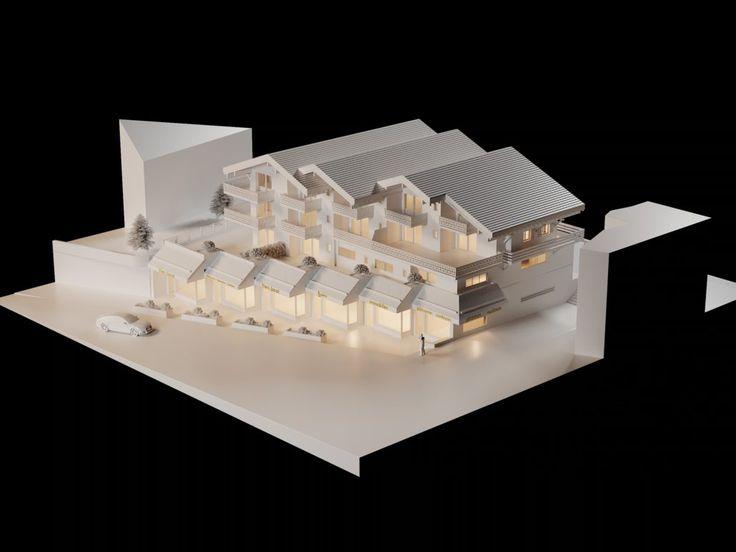 Architecture Verbier Ski Alps 3D Printing Architecture 3D White Model Render #architecture #projet #chalet #maquette #noiretblanc