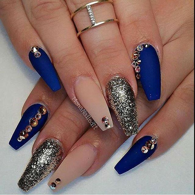 Ballerina Nails. Matte Nails. Blue And Gold Nails. Nude and Blue Nails. Gold Glitter Nails. Nails With Rhinestones. Acrylic Nails. Gel Nails.