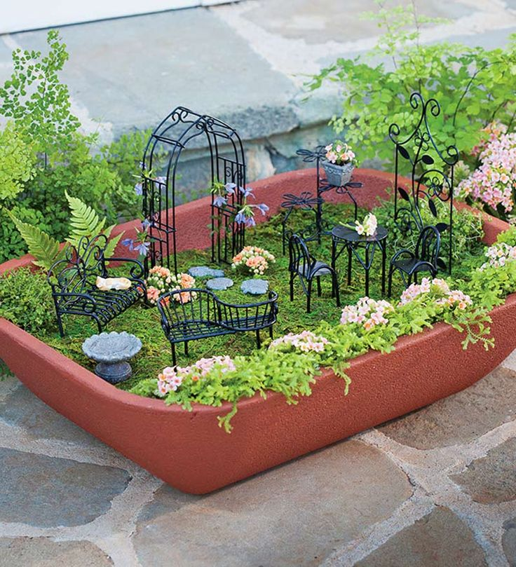 Double Walled Self Watering Herb Garden Planter With Fairy Garden Furniture    Plow U0026 Hearth. My Dad Got Me This Gigantic Fairy Garden Set.