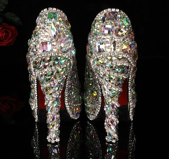 Luxury Heel Colorful Diamond Shoes Frost Closed Toes Heels