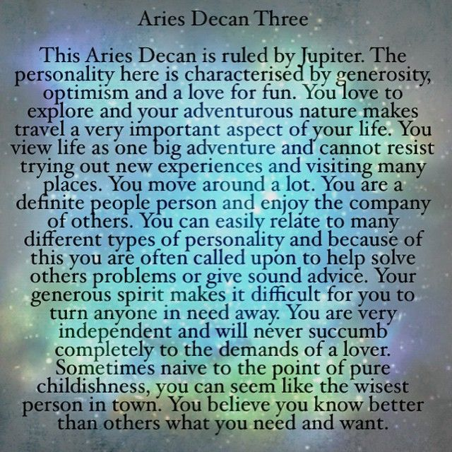 Aries DECAN 3 ~ April 11 - 20th.