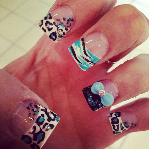 205 best nails images on pinterest nail designs nail art and baby blue leopard print and zebra print nails with a baby blue bow super cute ive never seen this in blue just pink it looks better with baby blue prinsesfo Choice Image