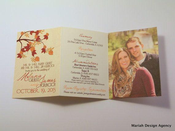Fall Wedding Invitation TriFold by MariahDesignShop on Etsy, $3.00...love this idea!