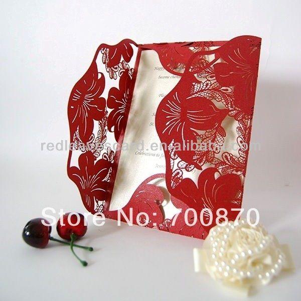 Nova chegada : IC1202 11 folhas vermelhas flor Laser cortar o cartão do convite em Decoração de festa de Casa & jardim no AliExpress.com | Alibaba Group