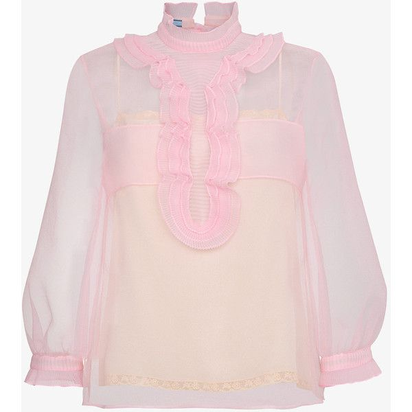 Prada Sheer Top With Ruffles ($1,600) ❤ liked on Polyvore featuring tops, blouses, flutter-sleeve top, frilly tops, frill top, pink sheer top and frilled top