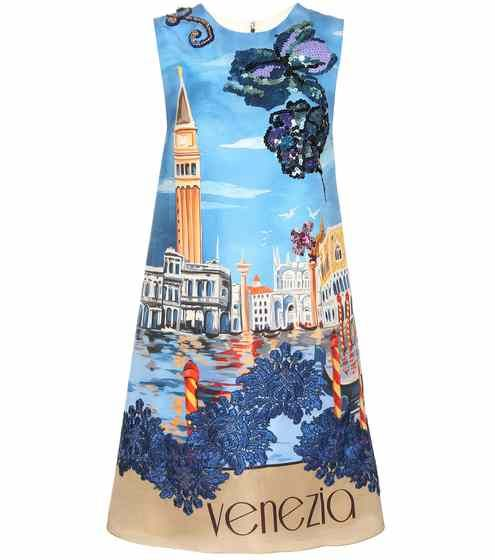 Abito a stampa in seta con decorazione | Dolce & Gabbana