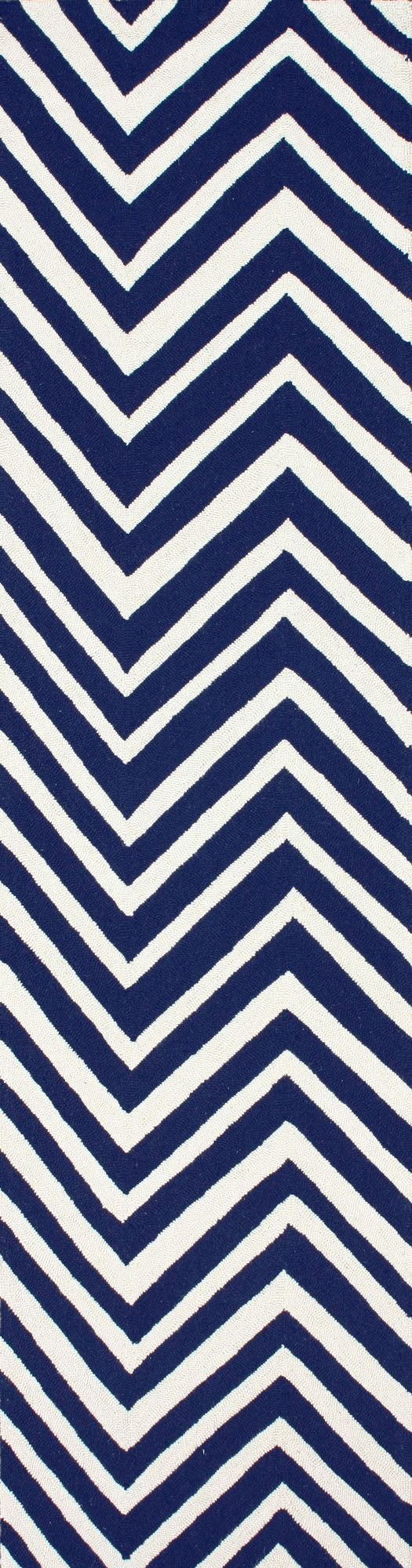 Chelsea Navy Blue/White Chevron Area Rug