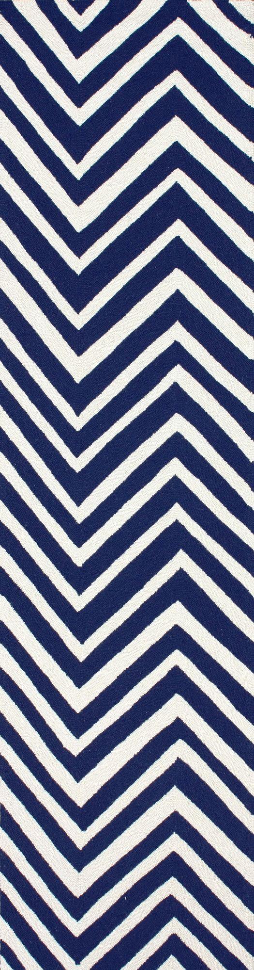 Chelsea Navy Blue/White Chevron Area Rug