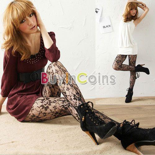 Sexy Women Soft Tights Fashion Rose Lace Pattern Jacquard Pantyhose Stockings -- BuyinCoins.com