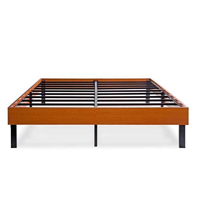 Ecos Living 14 Inch Wood Platform Bed Steel Slat Non Slip Support