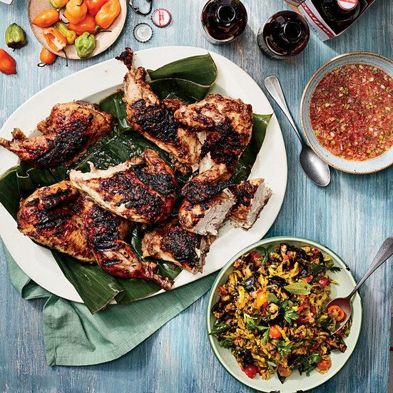 This jerk chicken recipe is from Paul Chung, who grew up in Jamaica and sampled jerk throughout the island. It's fragrant, fiery hot and smoky all at once.