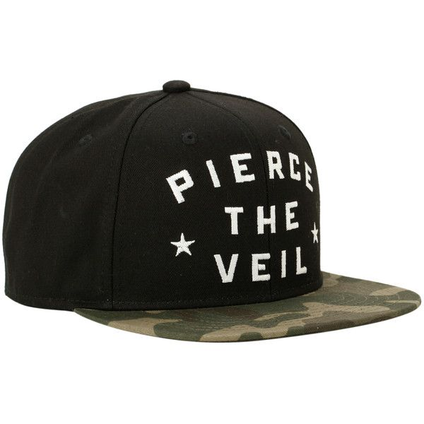 Pierce The Veil Forget Regret Snapback Hat | Hot Topic ($13) ❤ liked on Polyvore featuring accessories, hats, band merch, hair, snapbacks, embroidered hats, snap back hats, camo hat, band hats and camouflage hats
