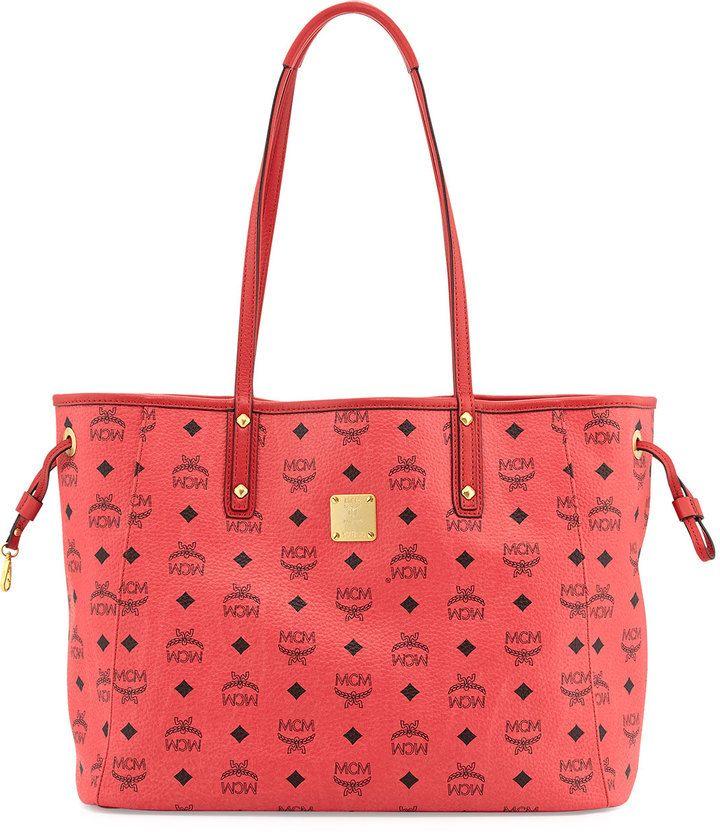MCM Shopper Project Reversible Logo-Print Shopper Bag, Red/Jaguar Brown on shopstyle.com
