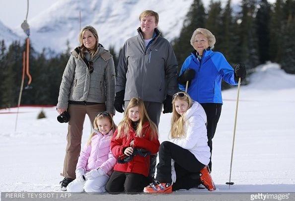 King Willem-Alexander of The Netherlands, Queen Maxima of The Netherlands and Princess Beatrix of The Netherlands and Princess Ariane of The Netherlands, Princess Alexia of The Netherlands, Princess Catharina-Amalia of The Netherlands skiing holiday on February 23, 2015 in Lech, Austria. (Dutch royal family have spent their winter vacations since 1959)