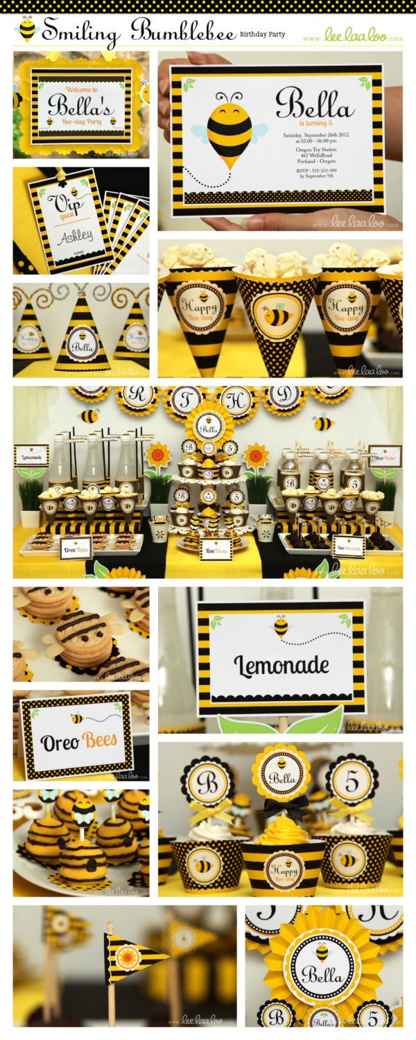 Smiling Bumblebee Birthday Party Package Personalized Printable Design by leelaaloo.com