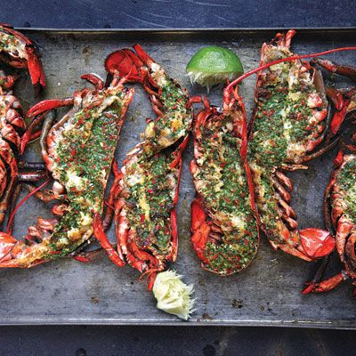 Grilled Lobster with Cilantro-Chile Butter | Grilled Lobster, Lobsters ...