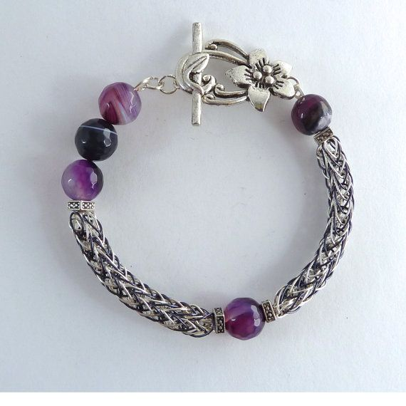 Viking Knit Purple Gemstone Bracelet  Viking by BeauBellaJewellery