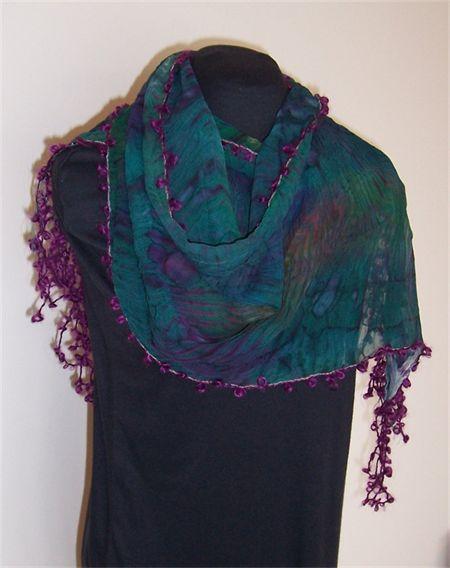 Arashi Shibori silk with mohair fringing