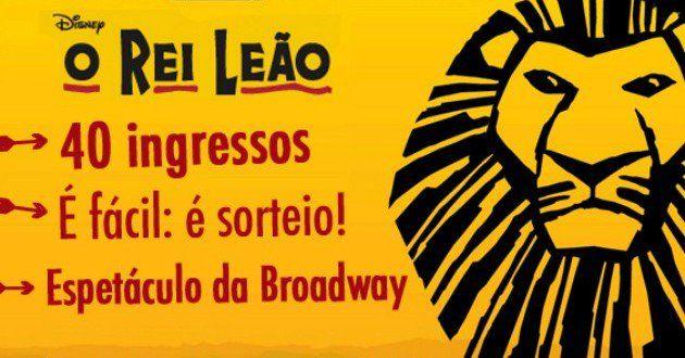 O Bolsa de Mulher vai sortear 40 ingressos (20 pares) para o espetáculo O Rei Leão, da Broadway, em ...