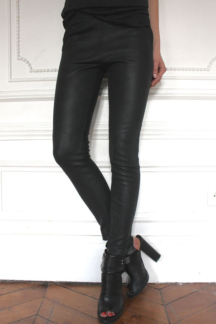 Pantalon en cuir stretch 100% chèvre