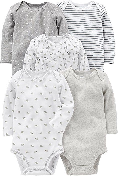 Amazon.com  Simple Joys by Carter s Baby 5-Pack Long-Sleeve Bodysuit,  Gray White, 12 Months  Clothing 954b158643f
