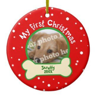 Dog My First Christmas Red and Green Pet Photo Ornaments