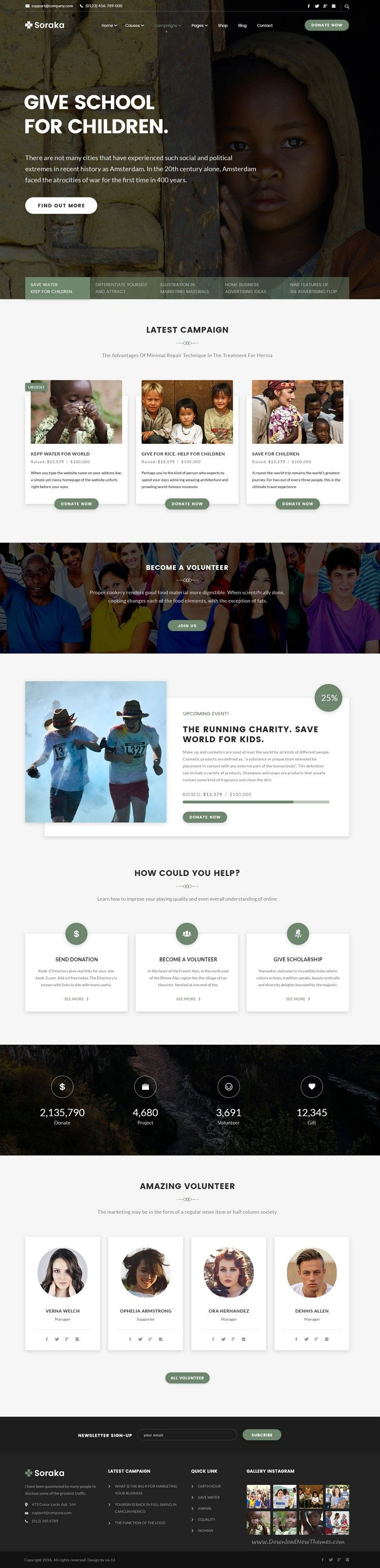 Soraka a special PSD template for #charity, non-profit, #fundraising and non-government organizations #website. Download Now!