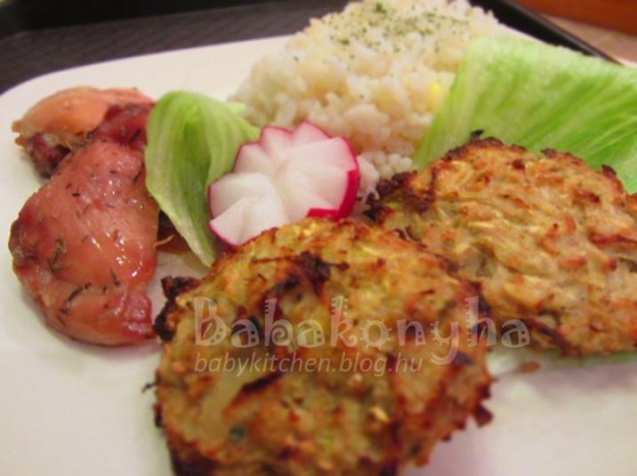 Cukkinifasírt sáfrányos rizzsel, jénaiban sült filézett csirkecombbal és friss salátával by babykitchen.blog.hu