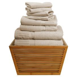 Set of eight Turkish cotton towels with ribbed borders.   Product:  2 Bath towels, 2 hand towels  and 4 washcloths Construction Material:  100% Two-ply Turkish cottonColor:  Sand  Dimensions:  Washcloth:  13 x 14 eachHand Towel: 20 x 32  each Bath Towel:  27 x 54 each       Cleaning and Care: Machine wash