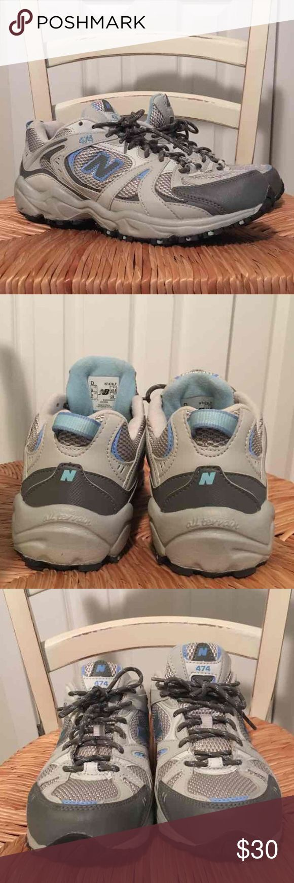 "Like New, Women's New Balance Sneakers, Size US 9 Beautiful, LIKE NEW, Women's Gray & Blue New Balance Sneakers, Size US 9. Condition: no marks, clean bottoms (see pictures). Marked ""474 all terrain"" New Balance Shoes Sneakers"