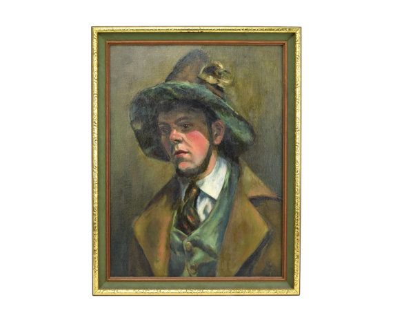 Tyrolean Hat Vintage Oil Painting Young German Man w Chin Beard